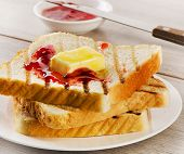 Slices Of Toast Bread With  Jam