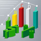 Modern 3d infographics options with dollar sign