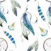 pic of dreamcatcher  - Beautiful vector pattern with nice watercolor dreamcatcher - JPG