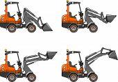 image of heavy equipment  - Detailed illustration of skid steer loaders - JPG