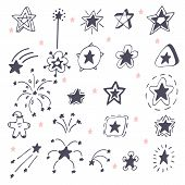 pic of xmas star  - Collection of hand drawn stars - JPG