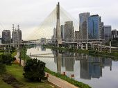 Octavio Frias De Oliveira Bridge (Ponte Estaiada) In Sao Paulo, Brazil poster