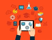 pic of online education  - Background with flat design icons representing education - JPG