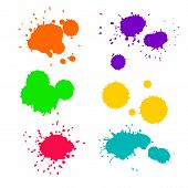 foto of violets  - Vector set of 6 ink colorful splashes in pink - JPG