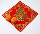 pic of mandarin orange  - mandarin oranges with the greeting sticker with chinese character - JPG
