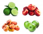 Постер, плакат: Fresh limes sliced Fresh diet fruit three green apples Flat Nectarines and peaches isolated on wh