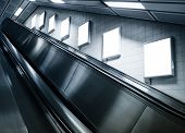 pic of escalator  - Mock up Billboard ads at escalator side in Subway station persective - JPG
