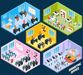 stock photo of isometric  - Isometric office interior with working conference and meeting room elements isolated vector illustration - JPG