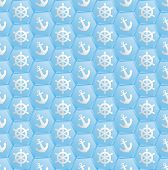 picture of nautical equipment  - blue pattern seamless with nautical symbols   - JPG