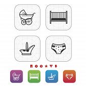 picture of buggy  - Four icons in relation to a Baby born time / Baby care objects pictured here from left to right top to bottom: 