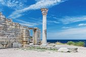 picture of sevastopol  - Ancient Greek basilica and marble columns in Chersonesus Taurica - JPG