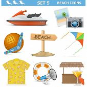 stock photo of boomerang  - Beach icons set 5 including shirt - JPG