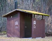 picture of outhouses  - A standard old outhouse but with a roof covered in green moss stands in the trees of a dense forest - JPG