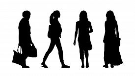 foto of ordinary woman  - silhouettes of ordinary women of different age walking outdoor front back and profile views - JPG
