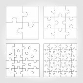 Jigsaw puzzle four vector flat blank templates poster