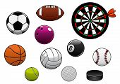 Постер, плакат: Dartboard hockey puck and sports balls