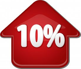 pic of tens  - Upwards success glossy red arrow percent pointing up ten 10 - JPG