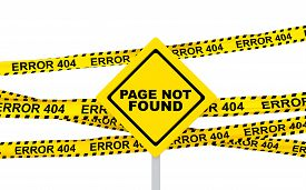 stock photo of not found  - 3d render of page not found sign board and yellow error 404 ribbons - JPG