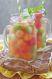 picture of honeydew melon  - Melon cocktail with watermelon - JPG
