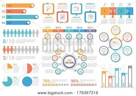 poster of Set of most useful infographic elements - bar graphs, human infographics, pie charts, steps and options, workflow, puzzle, percents, circle diagram, timeline, vector eps10 illustration