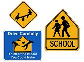 warning children signs school, drive carefully and playground