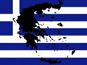 map of Greece and Greek flag illustration