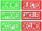 renewed, approved, accepted, rejected, cancelled and declined red and green stamps on white backgrou