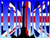 Nelson Column Trafalgar Square with London flag text