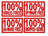 100% virus,spyware,ad-ware free 100% encrypted and secure stamps on white