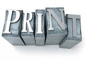 3D rendering of the word print written in print letter cases