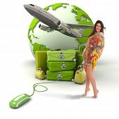 Composition with a girl in summer attire, a pile of luggage, a plane taking off and the world map, c