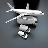 3D rendering of showing an aerial view of an airplane, a truck, a van and a lorry against a gray background