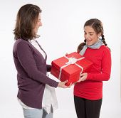 Young girl in raptures receiving a present from her mother