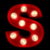 3D rendering of a glowing letter S ideal for show business signs