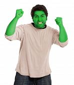 Green young man in a fit of rage