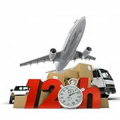 3D rendering of  a pile of packages a van, a truck and an airplane with the words 12 Hrs and a chronometer