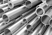 Many Different Steel Pipes, Industrial Background poster