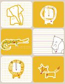 Vector graphic set displaying a little lion and his jungle friends.