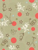 Vector seamless pattern displaying vintage baby animals.