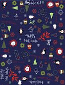 Vector baby blue Christmas (Seamless Pattern)