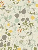 Vector Floral Pattern with cute birds (Seamless)
