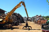 scrap metal scrap-iron junk outdoor with crane