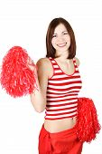 Beauty Cheerleader Girl In Red Holding Pompoms And Smiling, Isolated