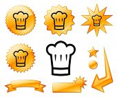 picture of chefs hat  - Chef Hat Icon on Orange Burst Banners and Medals Original Vector Illustration - JPG