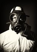 image of s10  - portrait of man wearing gas mask and protection clothes - JPG