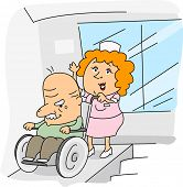 foto of physically handicapped  - Illustration of a Nurse at Work - JPG