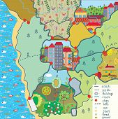 Child map with funny patterns cartoon
