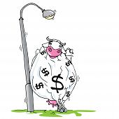 foto of cash cow  - Cartoon cash cow leaning against a lamp pole - JPG