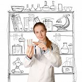Doctor Woman With Cup For Analysis