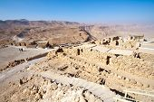 stock photo of zealots  - Ruins of the ancient Masada fortress in Israel - JPG